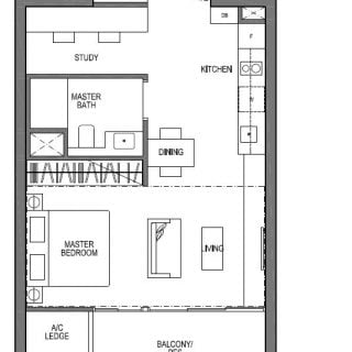 Seaside Residences 1 bedroom study suites