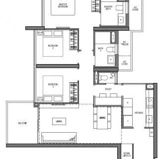 Seaside Residences 3 bedroom study VIVA