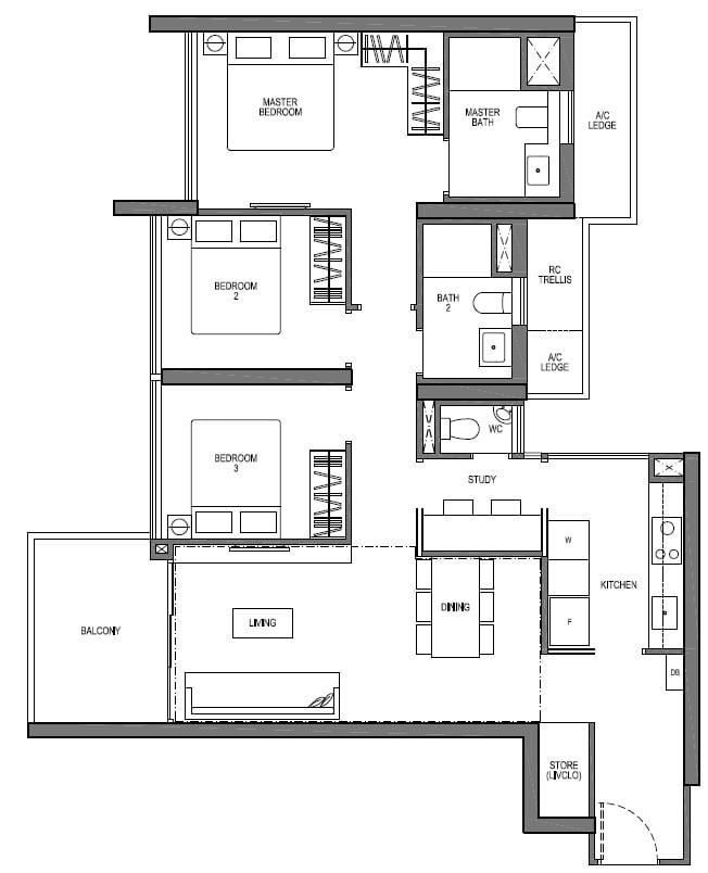 Seaside-Residences-3-bedroom-study-VIVA