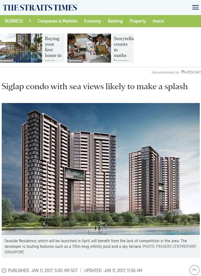Seaside-Residences-in-The-Straits-Times-News