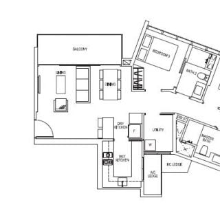 Sims Urban Oasis Floor Plan 3 bed