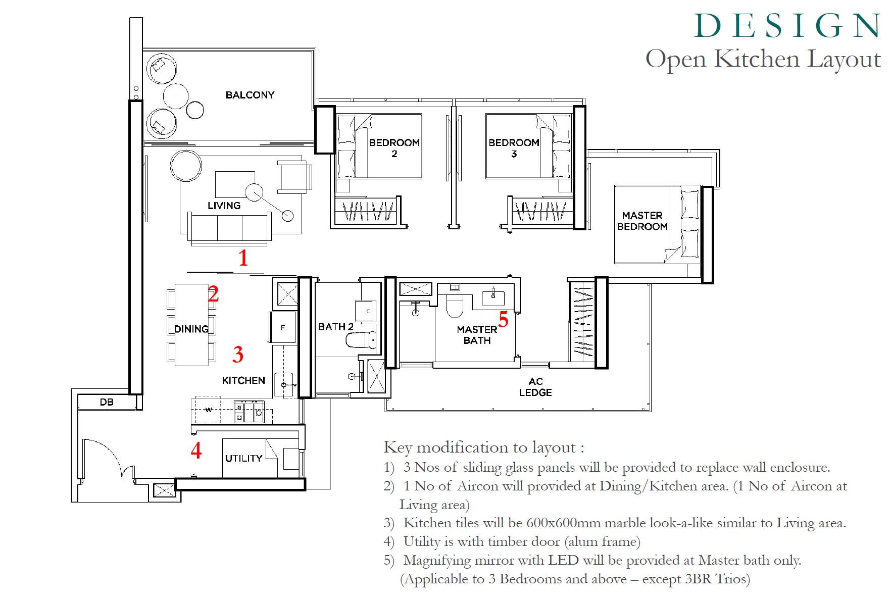 Gem Residences - 3 bed layout