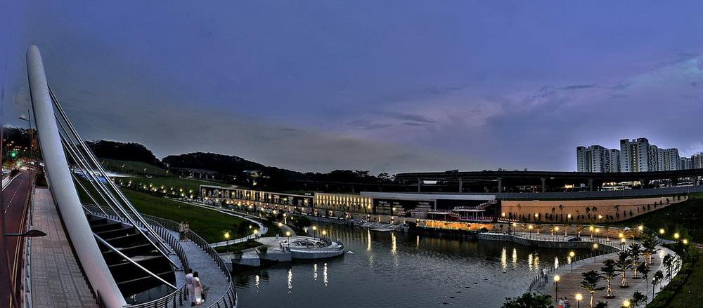Night view of waterway near Sumang Walk