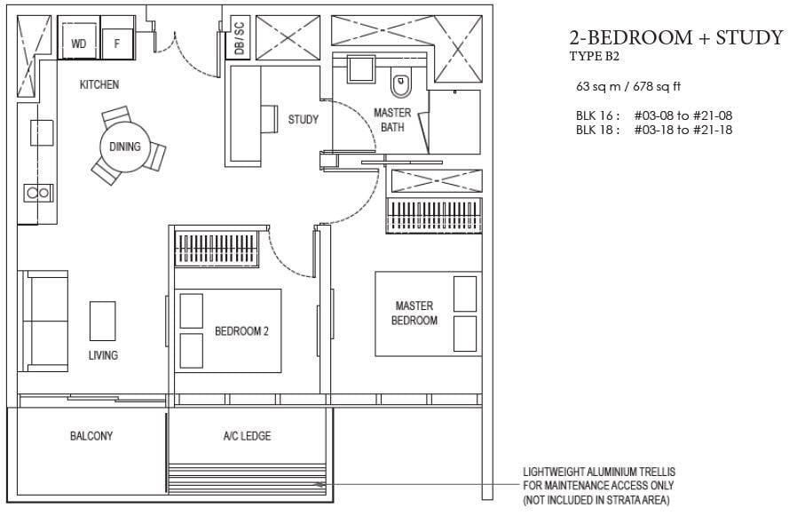 amber park floor plan 2bed + study