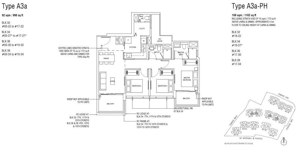 Piermont Grand EC Floor Plan 3 Bedroom Deluxe