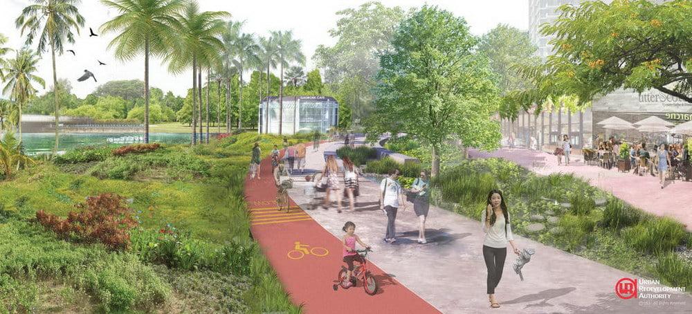 Park-like environment within Kampong Bugis Precinct