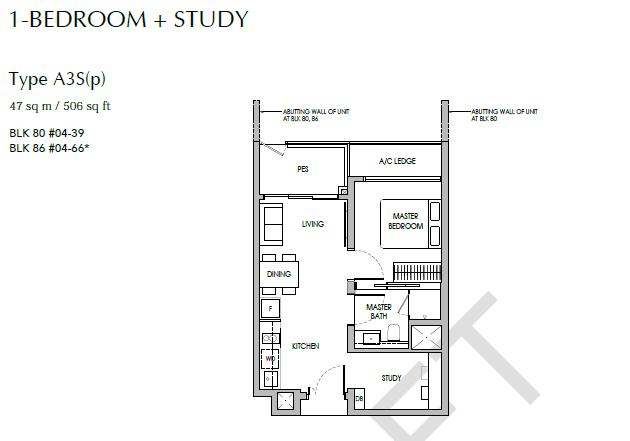 sengkang grand residences 1+S floor plan